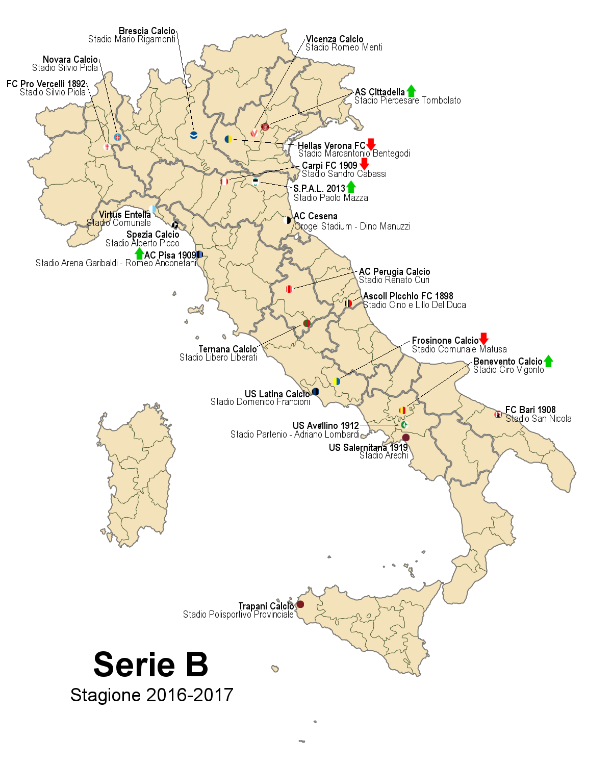 Benevento Calcio Calendario.Serie B 2016 2017 Wikipedia