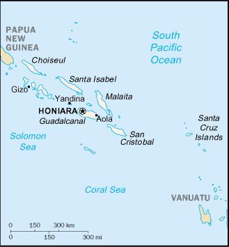 Locatie van Guadalcanal