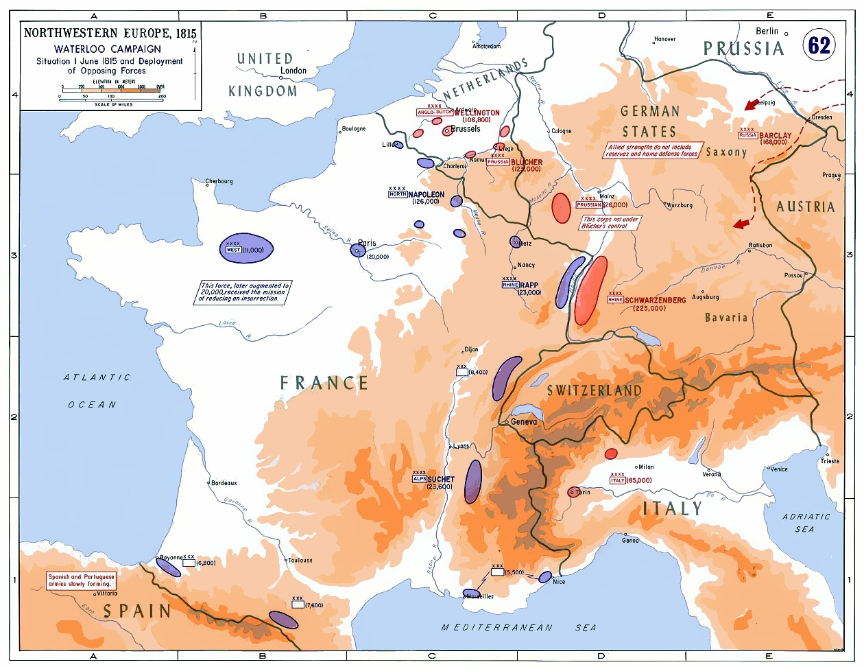 """Strategic Situation of Western Europe, 1815,"" by the Department of History, United States Military Academy. Public domain, via Wikimedia Commons."