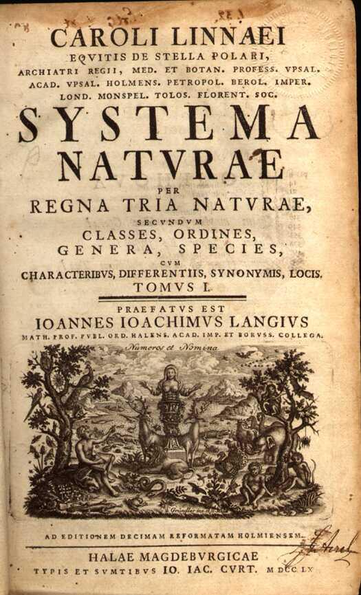 Page de garde de Systema Naturæ, Carl von Linné, édition de 1758.