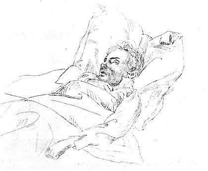 Beethoven en su lecho de muerte, por Josef Eduard Teltscher.