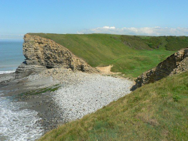 The mouth and beach of Cwm Nash, Nash Point. - geograph.org.uk - 861752