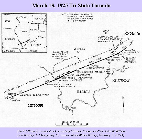 One map, done by Wilson and Changnon in 1971, seems to provide the most accurate path of this tornado. However, in searching for an electronic or digitized ...