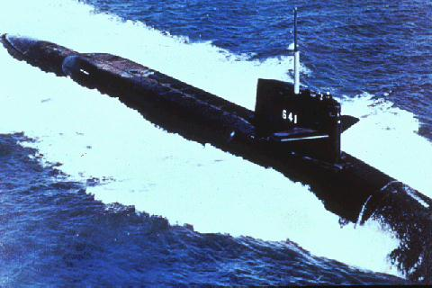 Simon Bolivar (SSBN-641) underwaying, c. 1 February 1991.