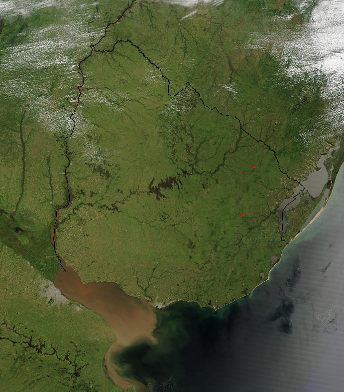 Satellite image of Uruguay