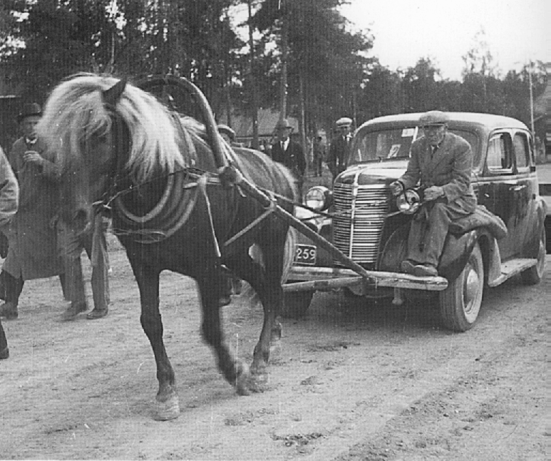 Image result for horse pulling car 1950