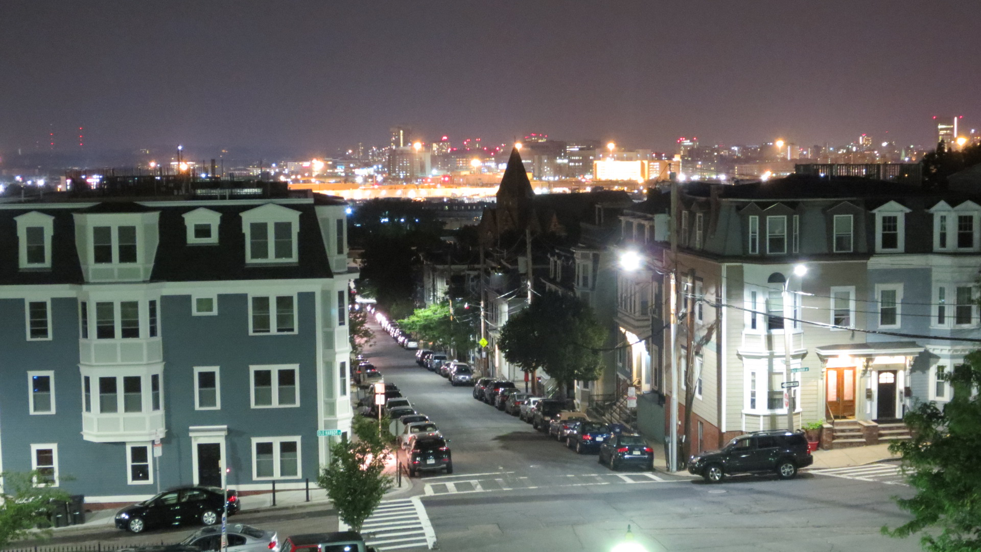 file view of boston at night from the dorchester heights