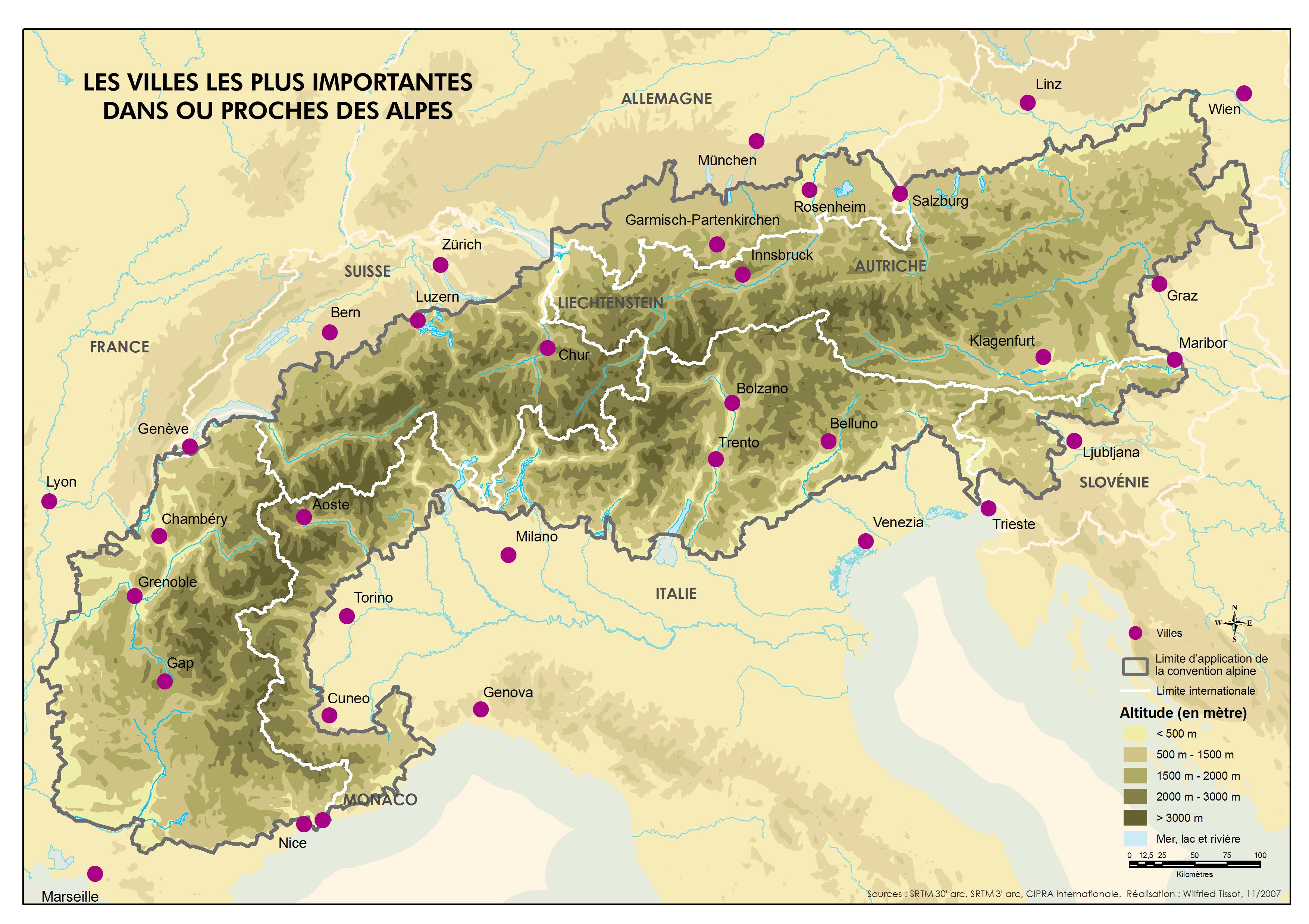 carte des alpes