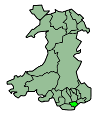 Location of the city of Cardiff (Light Green) within Wales (Dark Green)