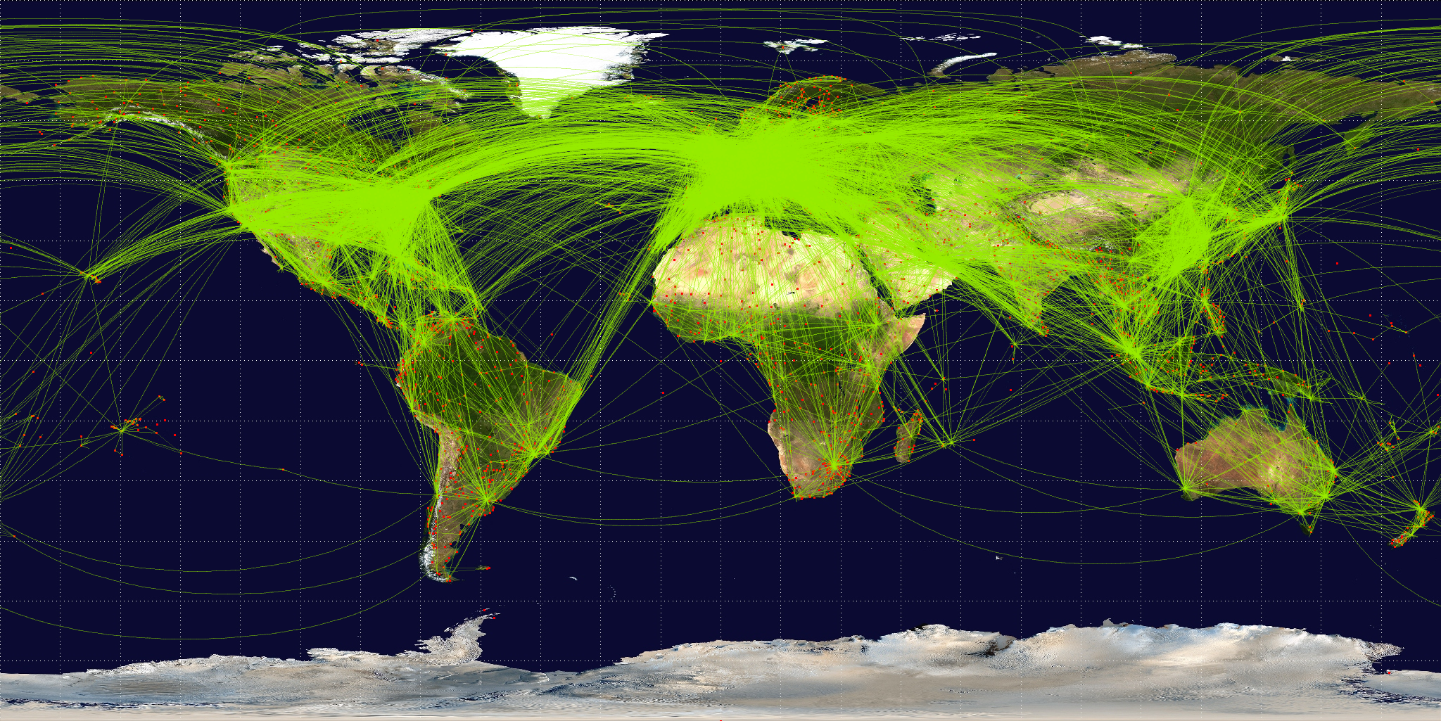 World Airline Route Map http://en.wikipedia.org/wiki/File:World-airline-routemap-2009.png