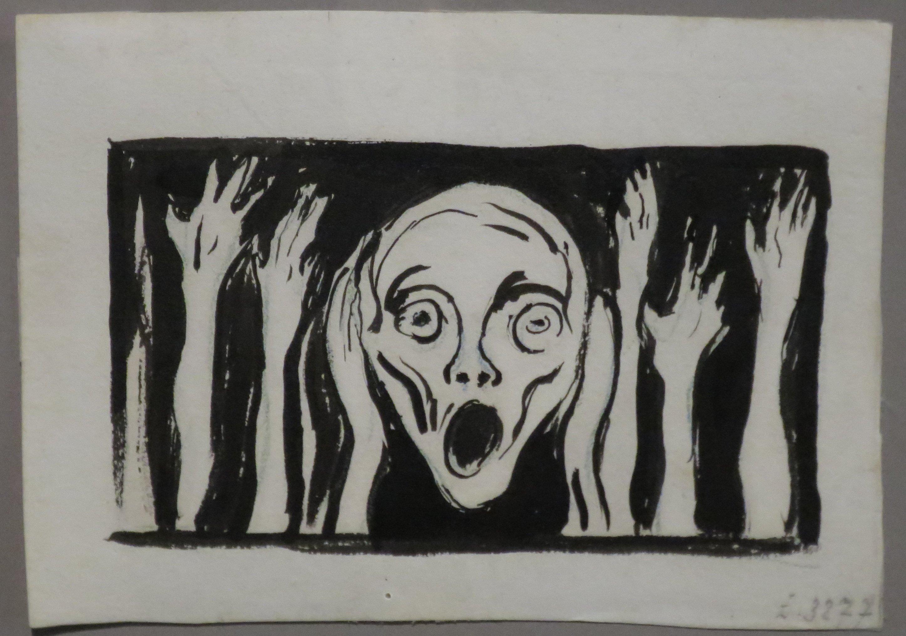 """""""Skrik – Schrei"""" –Edvard Munch (1863-1944) Bergen Kunstmuseum, Federzeichnung, undatiert"""