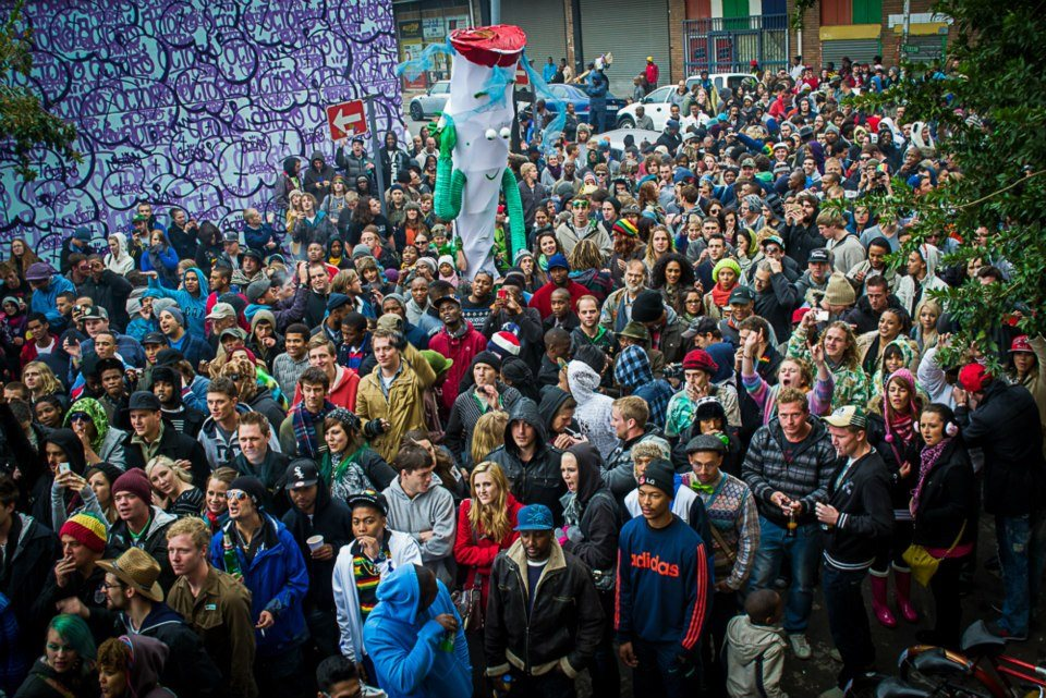 crowds gathering  in Johannesburg on April 20th 2013. large joint sculpture in the middle of the crowd. 4/20