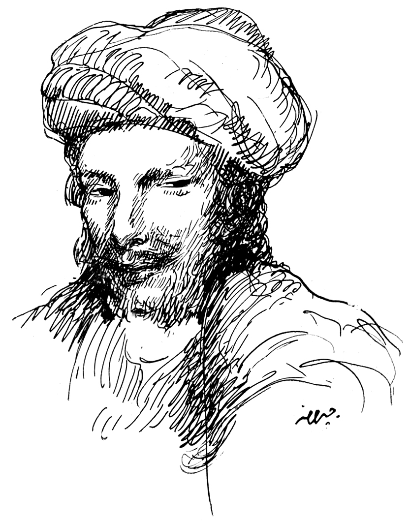 Abu Nuwas, Drawing by Khalil Gibran, al-Funun ...