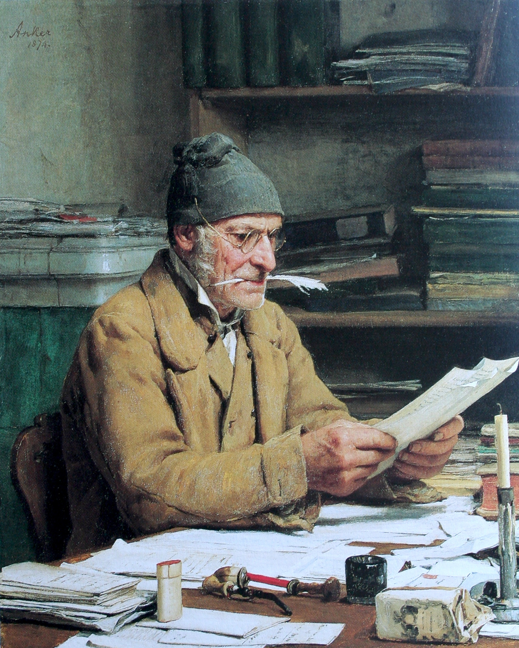 Författare som kanske funderar på kniviga språkliga spörsmål? Målning av Albert Anker.