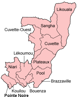 A clickable map of the Republic of the Congo exhibiting its twelve departments.