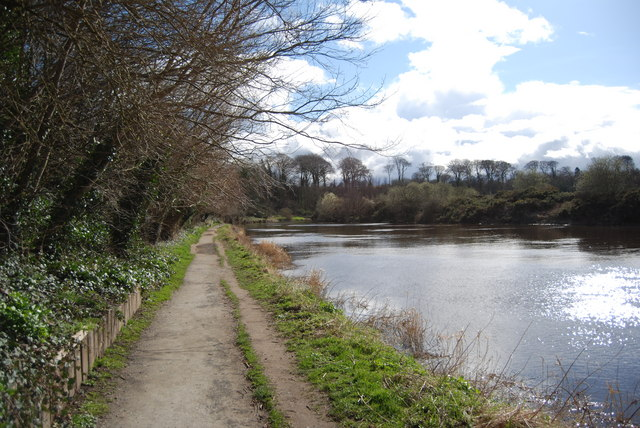 Coquet River and riverside path, Warkworth - geograph.org.uk - 1775033