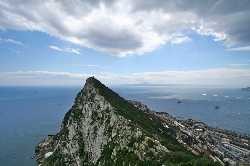 The Rock of Gibraltar with the mountain Jebel Musa, Morocco visible in the background