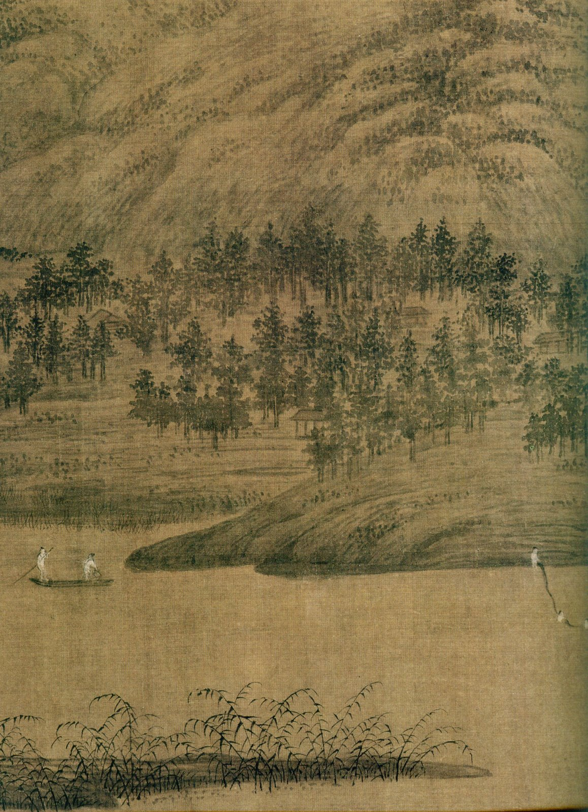 """Detail from ''Xiao and Xiang Rivers'', permanent collection at the [[Palace Museum]]. This painting is often considered to be one of Dong Yuan's greatest masterpieces, and it """"illustrates the revolutionary impressionism"""" he had achieved by """"means of broken ink washes and the elimination of the outline.""""<ref>{{cite book