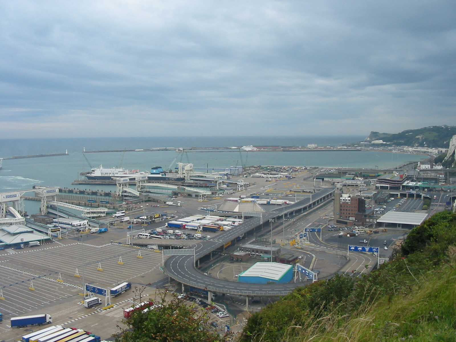 Looking down on the port of Dover from the Cliffs. This photo was taken by Tom Corser and is © Tom Corser 2009. http://www.tomcorser.com