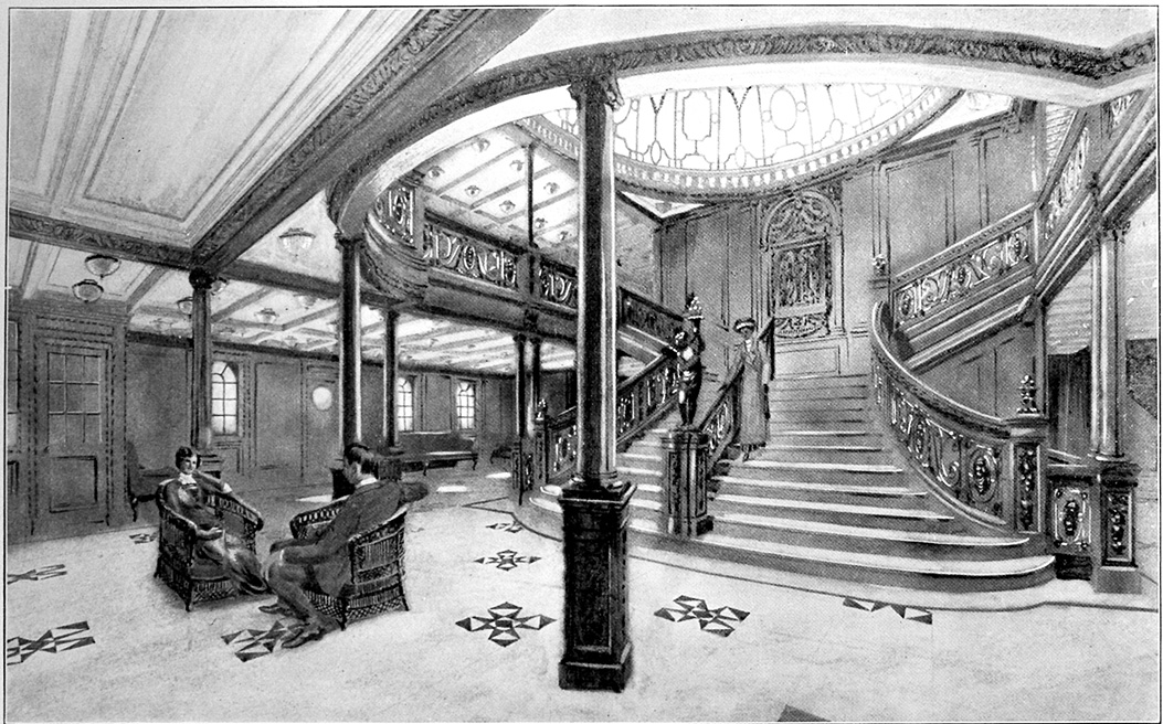 Drawing of the Grand Staircase onboard the RMS Titanic from the 1912 promotional booklet.jpg