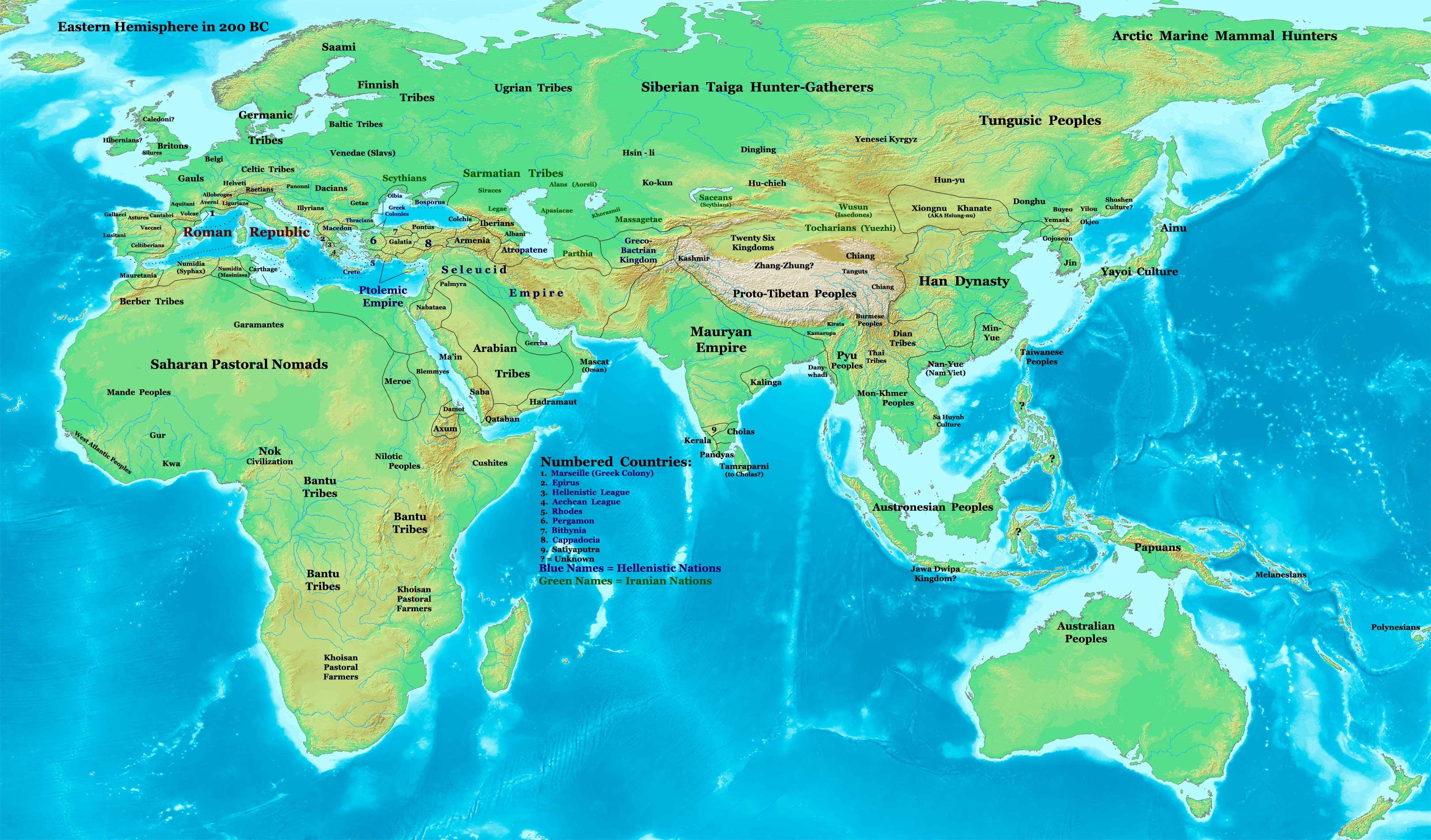Mapa de Asia en el sigloIIa.C.; muestra la ubicación de los tocarios (Yuezhi) al norte del Tíbet