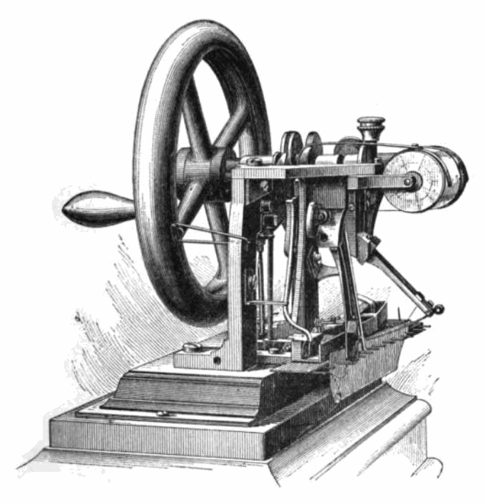 Drawing of first patented lockstitch sewing machine, invented by Elias Howe, 1845