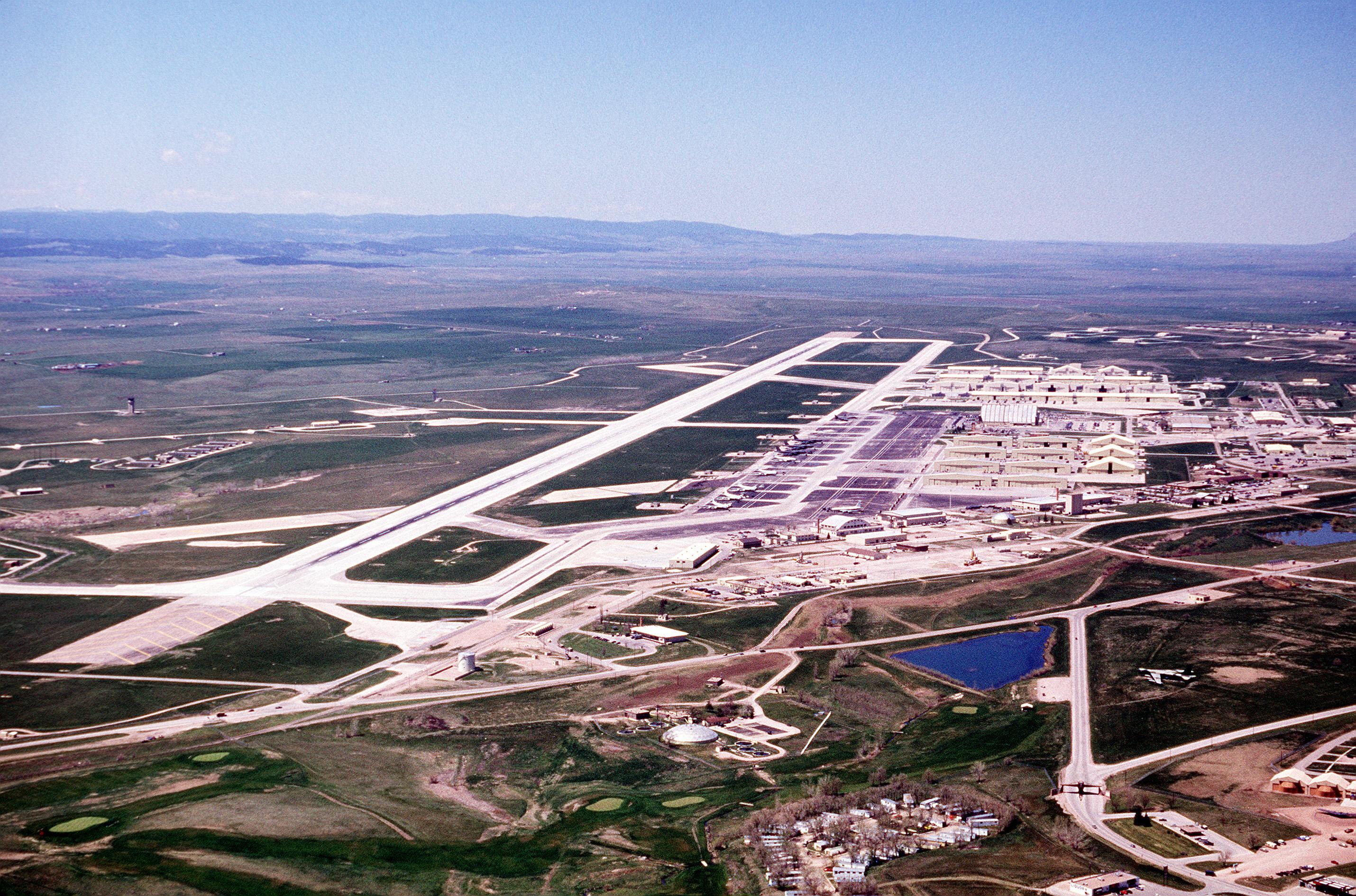 Aerial view of Ellsworth AFB, c.1990.