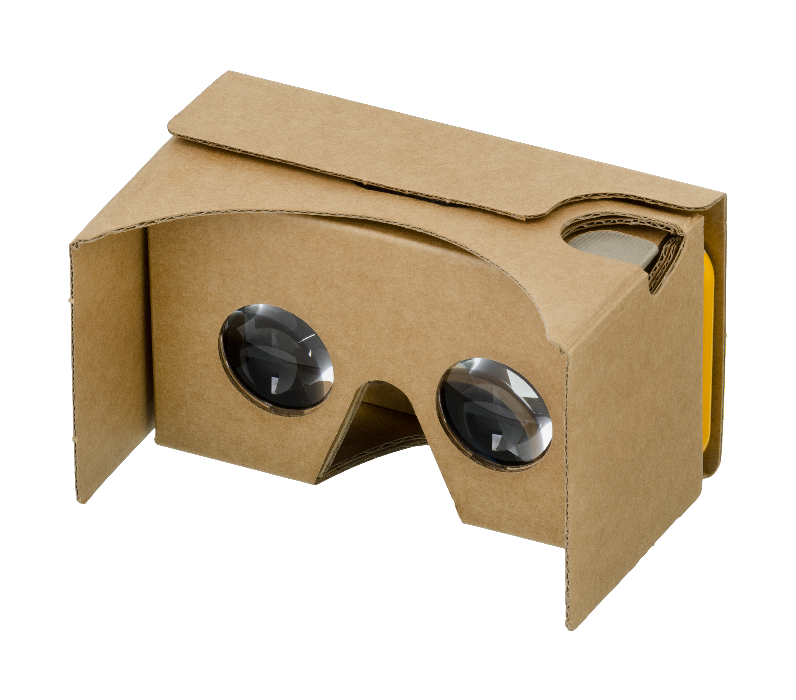 Cardboard VR headset, shown assembled and with a phone (iPhone 6s) in the visor slot. Made as a cheap, open standard by Google to encourage use and development