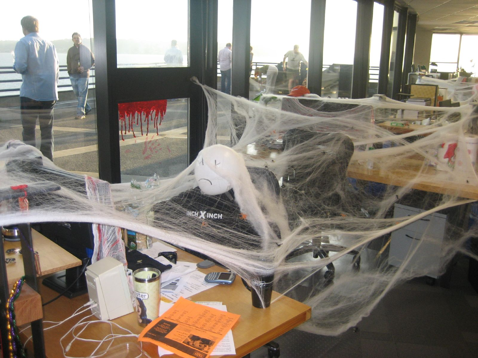 Office prank where desks have been covered with Halloween effects. (Courtesy of Joe Goldberg)
