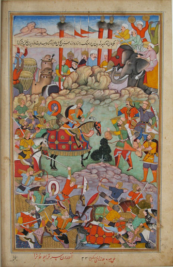 Humayun receiving the head of his opponent, Qaracha Khan. Humayun Receives the Head of Qaracha Khan.jpg