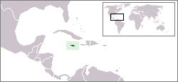 World locator map with Jamaica highlighted in green.