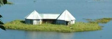 A view of Sendra Tourist Home on a large Phumdi in Loktak Lake