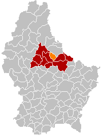 Map showing, in orange, the Diekirch commune