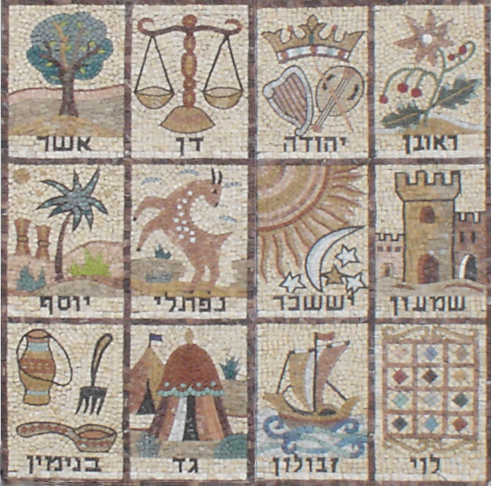 Mosaic of banners of the Twelve Tribes of Israel