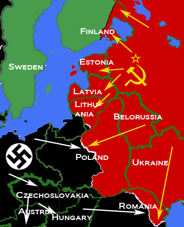 Map depicting most of Central and Eastern Europe, showing 1938 borders, along with Axis (black) and Soviet (red) military and political advances until late 1940 Nazi-Soviet 1941.png