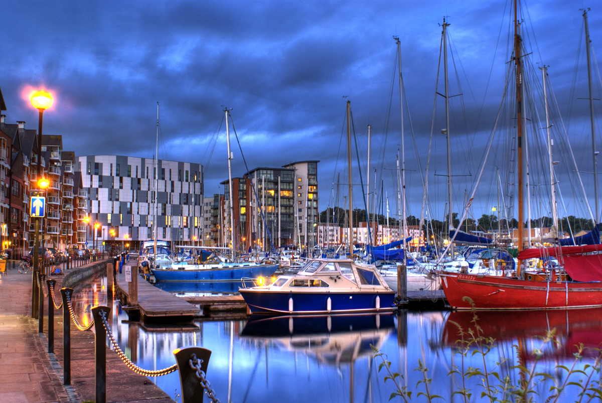 Yachts docked in Ipswich waterfront.
