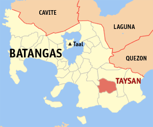 Map of Batangas showing the location of Taysan