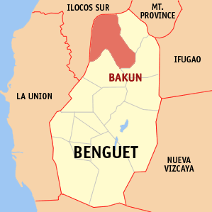 Map of Benguet showing the location of Bakun