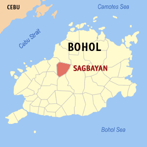 Map of Bohol showing the location of Sagbayan