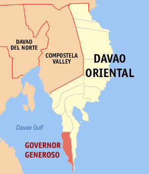 Map of Davao Oriental showing the location of Governor Generoso