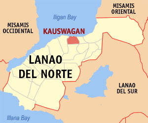 Map of Lanao del Norte showing the location of Kauswagan