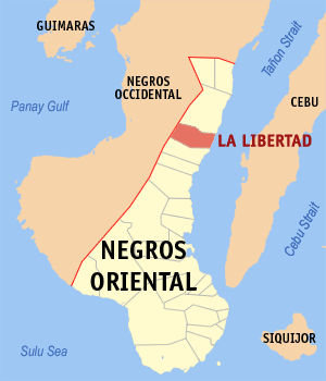 Map of Negros Oriental showing the location of La Libertad