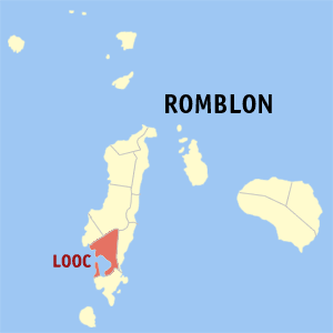 Map of Romblon showing the location of Looc
