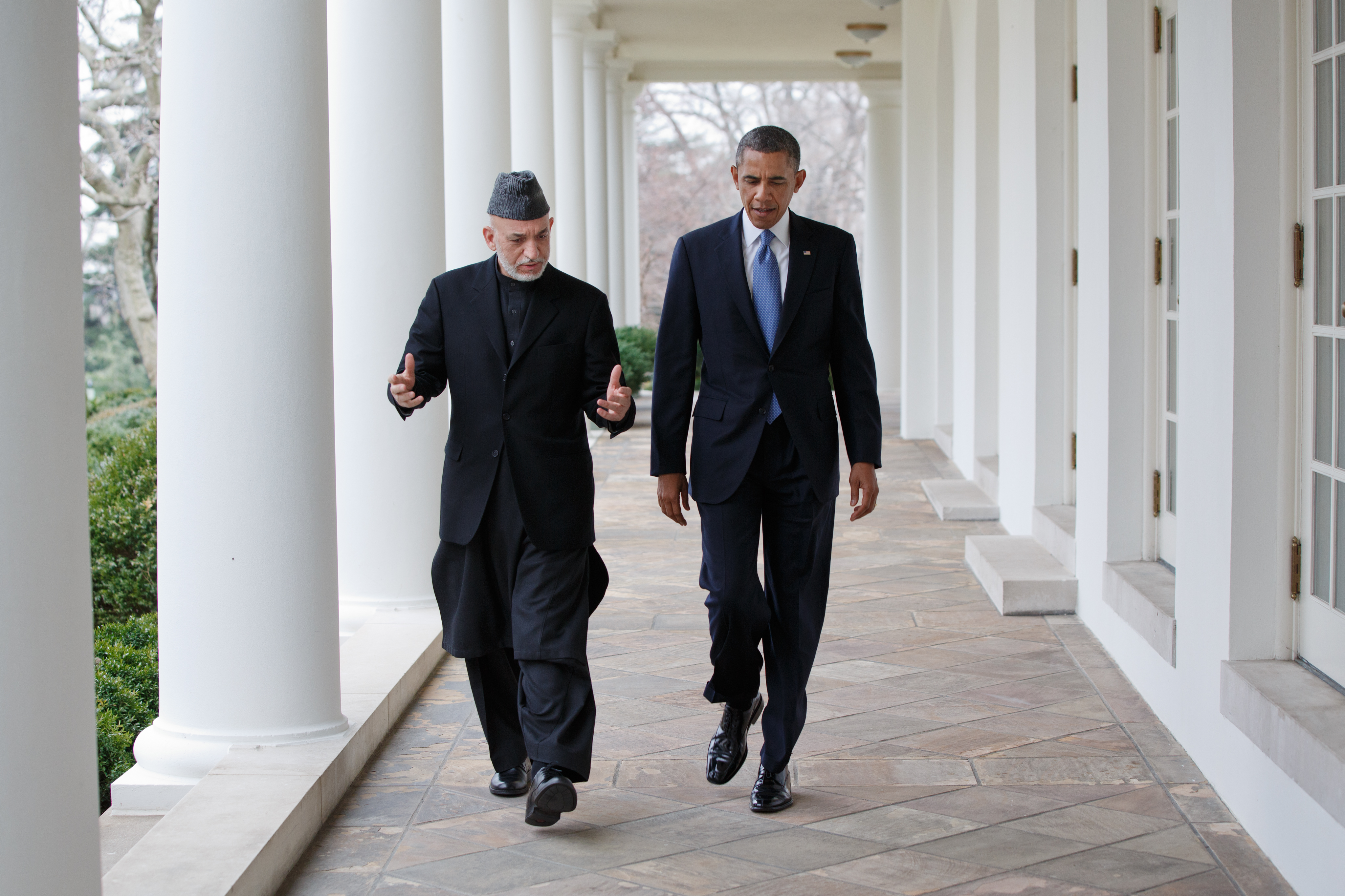 filepresident barack obama and president hamid karzai of afghanistan walk on the colonnade after