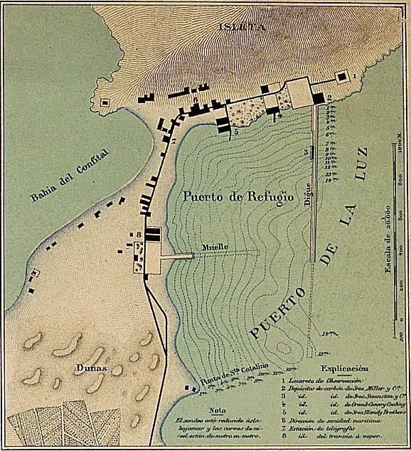 FilePuerto de La Luz Old Map of 1895 Las Palmas Gran Canariajpg