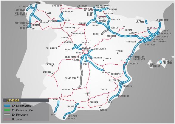 Réseau des routes à péage en Espagne (source : Miguel J bcn mi casa, Wikipedia)