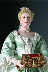 Mixed media image of a blonde woman in 17th-century dress