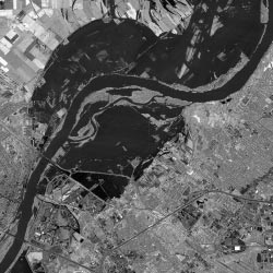 Satellite image of Missouri River during Great Flood of 1993.