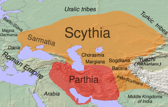 Geographical extent of Iranian influence in the 1st century BC. The Parthian Empire (mostly Western Iranian) is shown in red, other areas, dominated by Scythia (mostly Eastern Iranian), in orange.