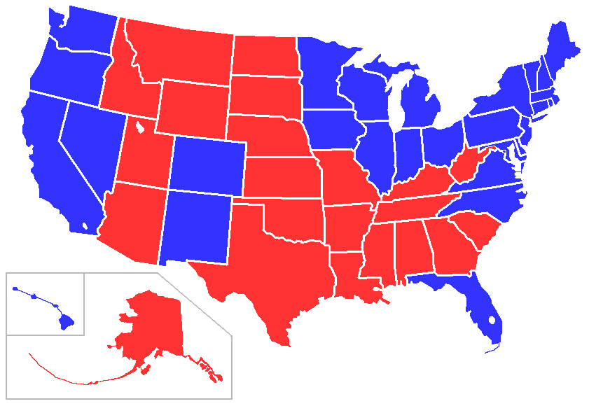 FileSimplePresElectionsUSAstatespng Wikimedia Commons - Us map red png